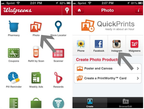 Screenshots showing how to upload instagram photos into the Walgreens app for printing