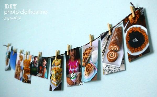 DIY Photo Clothesline on a light blue wall