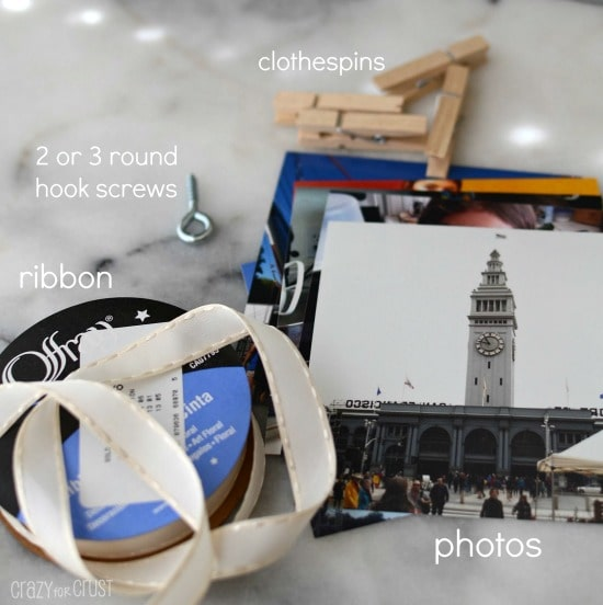 Everything needed to make DIY Photo Clothesline, ribbon, 2 or 3 round hook screws, clothespins and photos