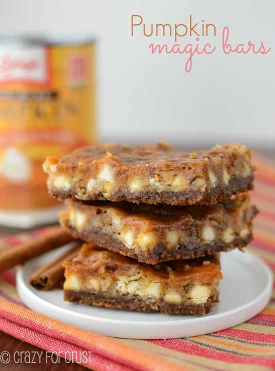 Pumpkin Magic Bars | A Fall twist on a magic bar! | crazyforcrust.com | #pumpkin
