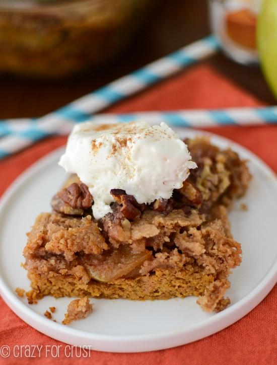 Spiced Pumpkin Apple Dump Cake | crazyforcrust.com | The BEST pumpkin dessert yet! #pumpkin #fall #apple