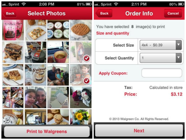 Screenshots showing how to select photos for upload to Walgreens app for printing