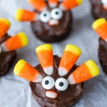 brownie circles made to look like turkeys with candy corn feathers and candy eyes