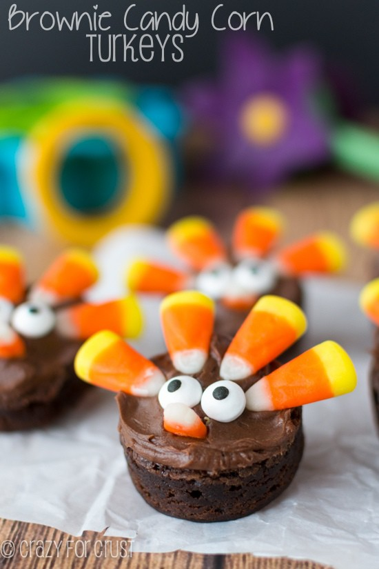 Brownie Turkeys made with Candy Corn! | crazyforcrust.com