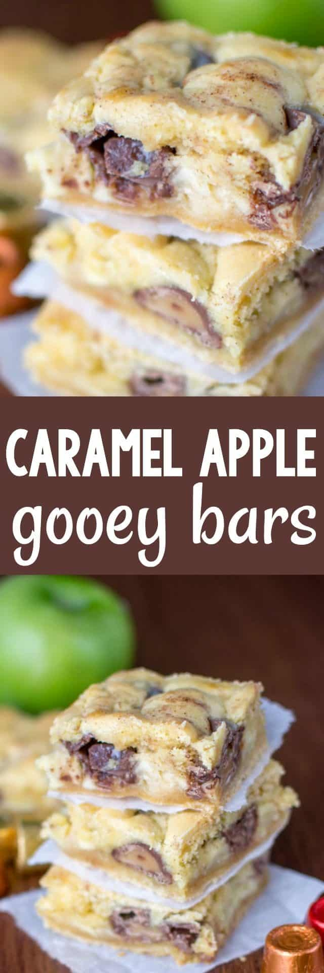 These Caramel Apple Gooey bars are one of my favorite versions yet: cake mix gooey bars are full of Rolos candy and apples for the perfect fall recipe.