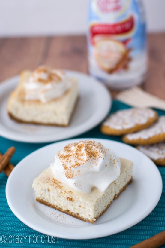 Cinnamon Spice Cheesecake Bars | crazyforcrust.com | #cheesecake