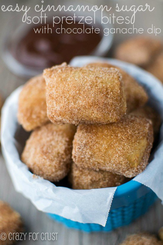 Easy Cinnamon Sugar Soft Pretzel Bites | crazyforcrust.com