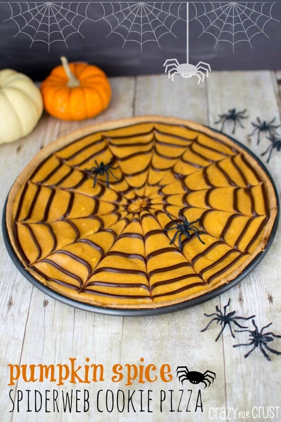 It's cute and easy: it's pumpkin spice spiderweb cookie pizza