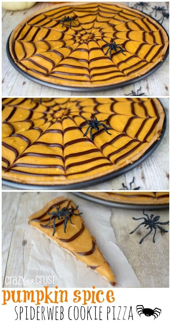Pumpkin Spice Spiderweb Cookie Pizza | www.crazyforcrust.com