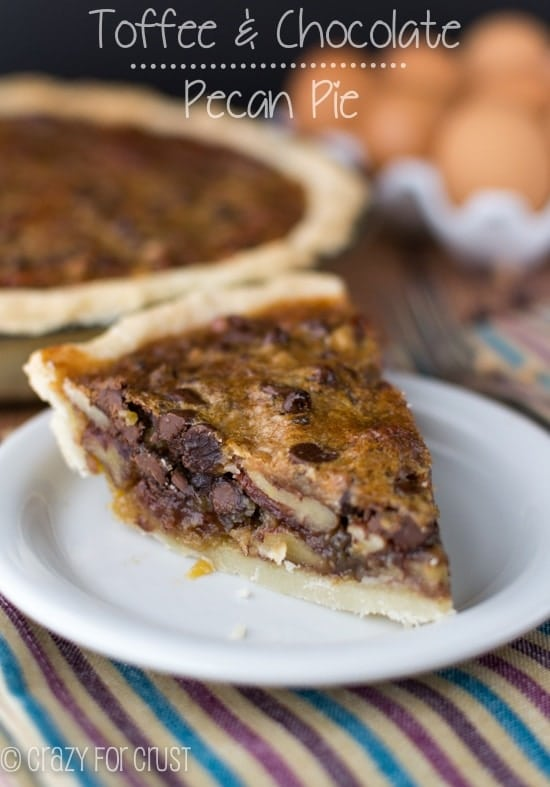 Toffee Chocolate Pecan Pie | crazyforcrust.com