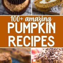 collage of pumpkin recipes photos