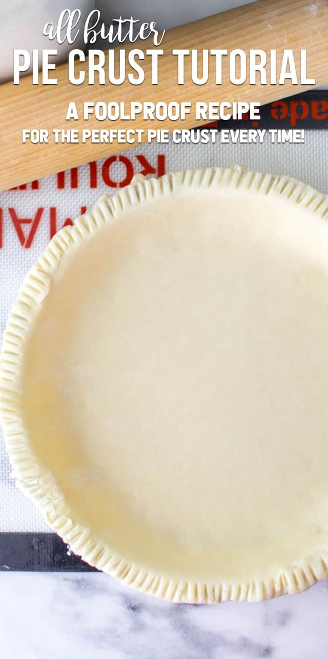 This easy all butter pie crust recipe is made with just four ingredients. It's fast and can be made in the food processor or by hand. It's the perfect pie crust for all your pie recipes!