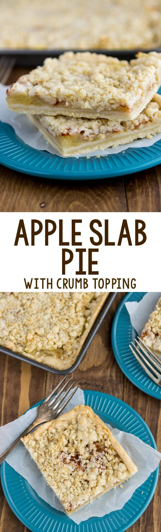 Apple Slab Pie with crumble topping on a blue plate collage