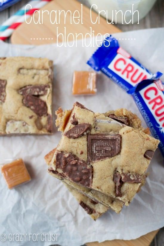 Caramel Crunch Blondies | crazyforcrust.com