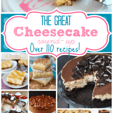 Picture collage of cheesecakes with title