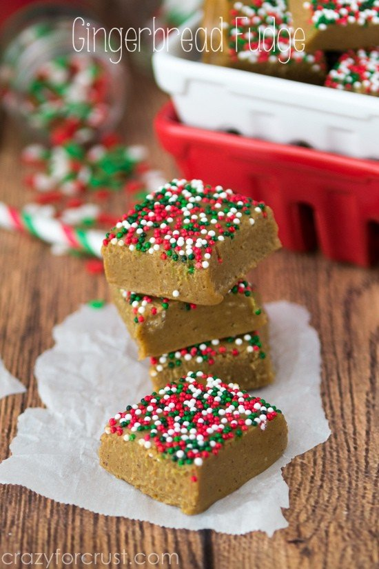 Gingerbread Fudge stack on parchment paper with title