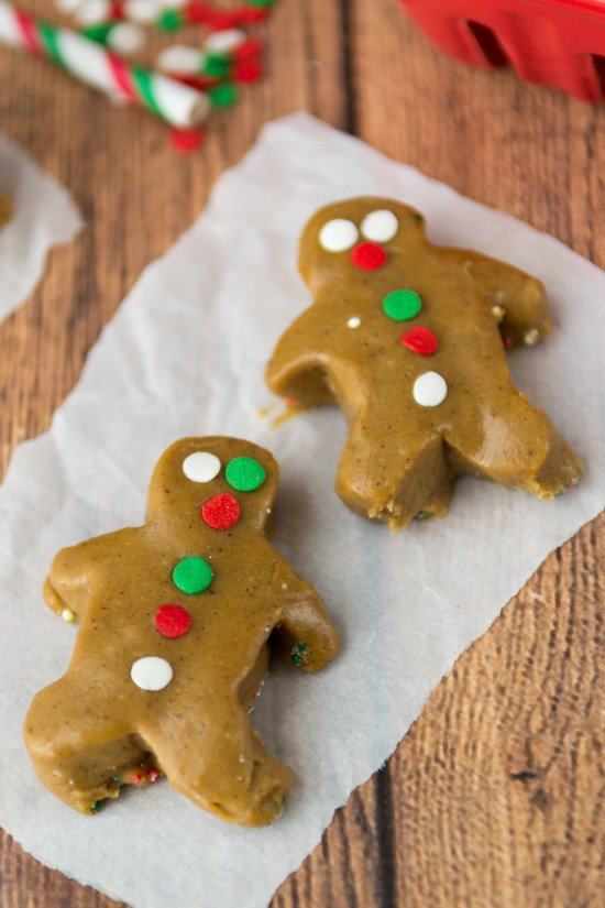 Gingerbread men on parchment paper