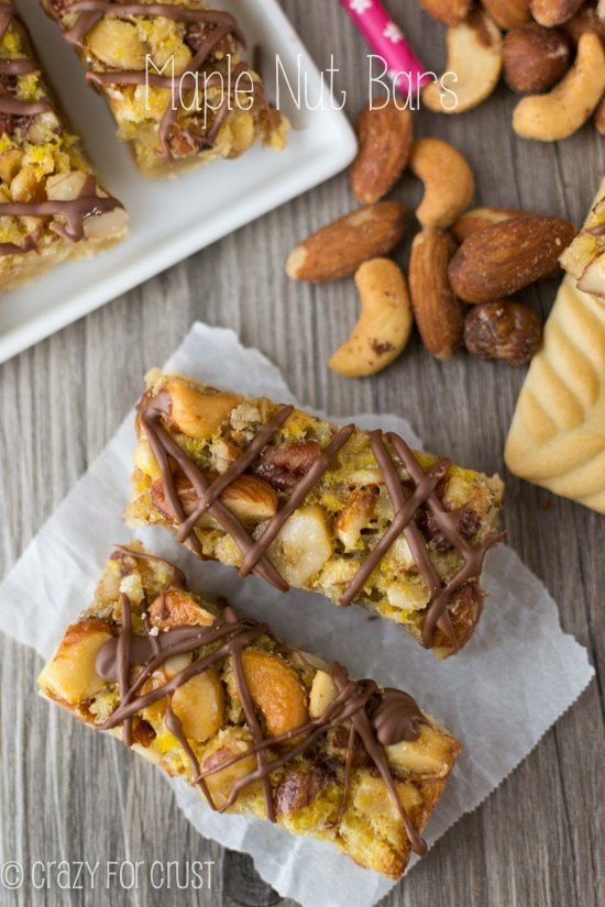 stack of maple nut bars on parchment paper overhead shot