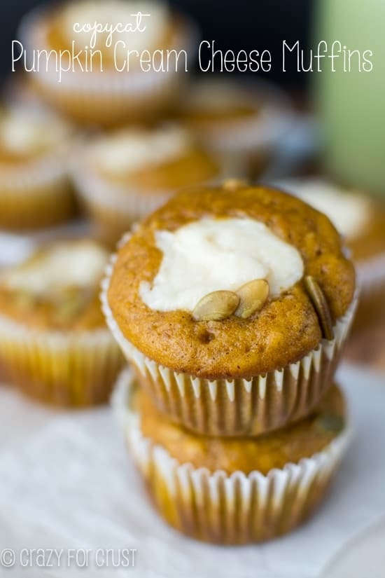 Pumpkin Cream Cheese Muffins - a Starbucks copycat! | crazyforcrust.com