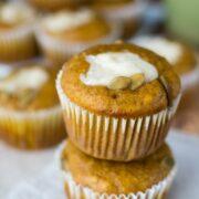 Stack of Pumpkin Cream Cheese Muffins