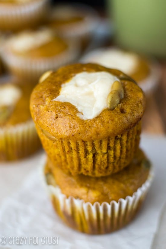 Pumpkin Cream Cheese Muffins {copycat recipe} - Crazy for Crust