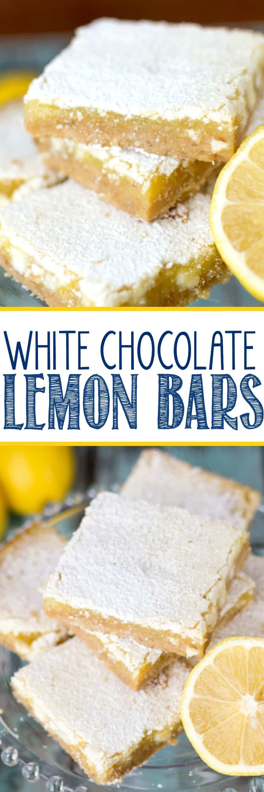 White Chocolate Lemon Bars - an easy from scratch lemon bar recipe! Shortbread crust topped with gooey lemon filling and white chocolate chips - everyone LOVES these bars!