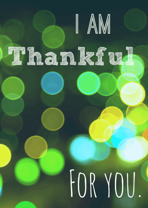 Graphic of thanksgiving card with green and blue circles
