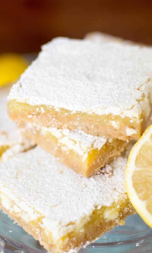 stack of white chocolate lemon bars