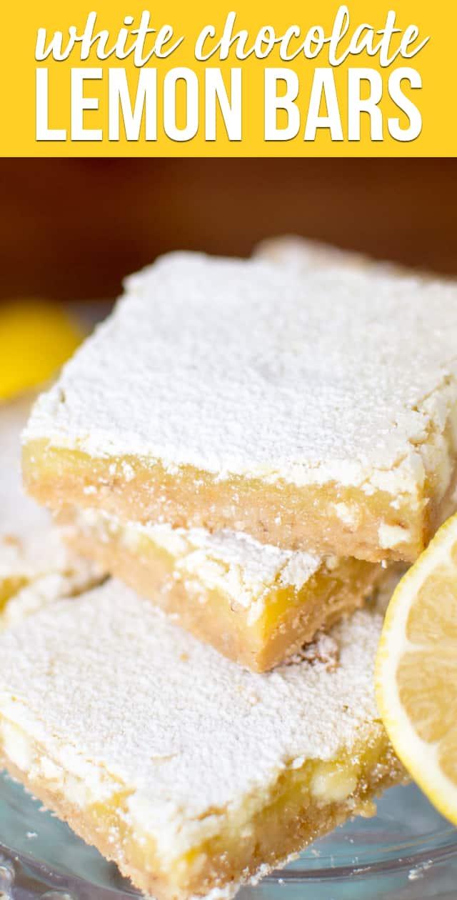White Chocolate Lemon Bars are an easy lemon bar recipe with a shortbread crust, gooey lemon filling, and white chocolate chips. These lemon bars are always a hit!