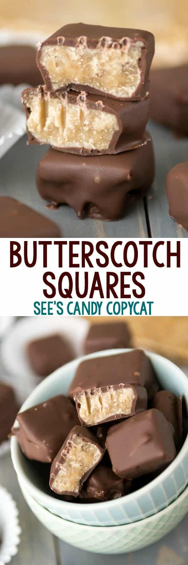 Two picture collage of  butterscotch squares in white bowl with title