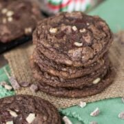Chocolate Mint Cookies stack on brown napkin with title