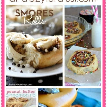 Pic collage of many cinnamon roll recipes with title