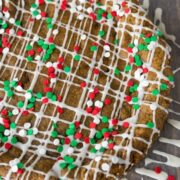 Overhead shot of Gingerbread cookie cake with title