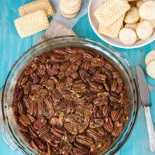 Overhead shot of pecan pie dip with title
