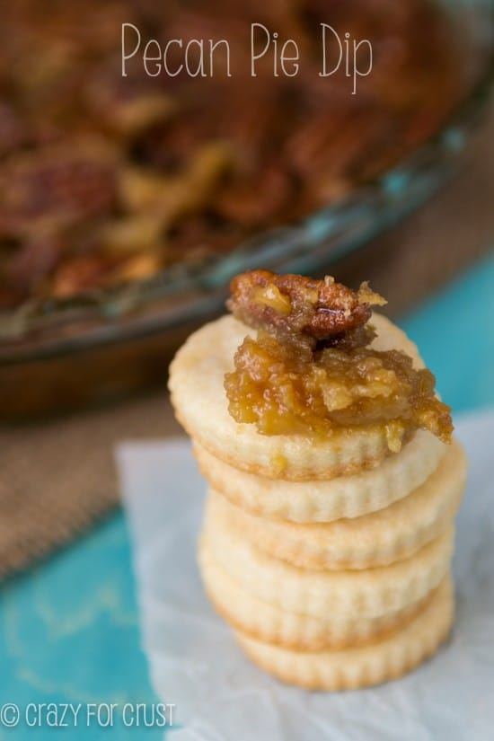 Pecan Pie Dip on a stack of cookies with title