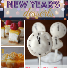 Pic collage of New Years Eve desserts with title