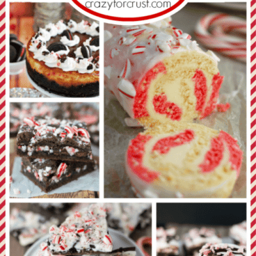 Pic collage of peppermint recipes with graphic
