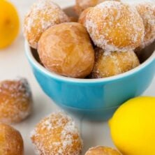 Easy Lemon Donut Holes in blue bowl with title