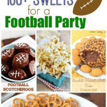 Pic collage of treats of a football party with title