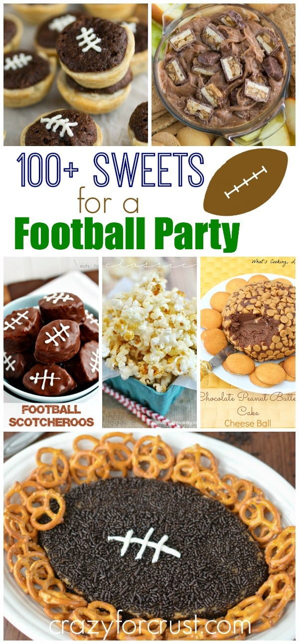 Pic collage of treats for a football party with title