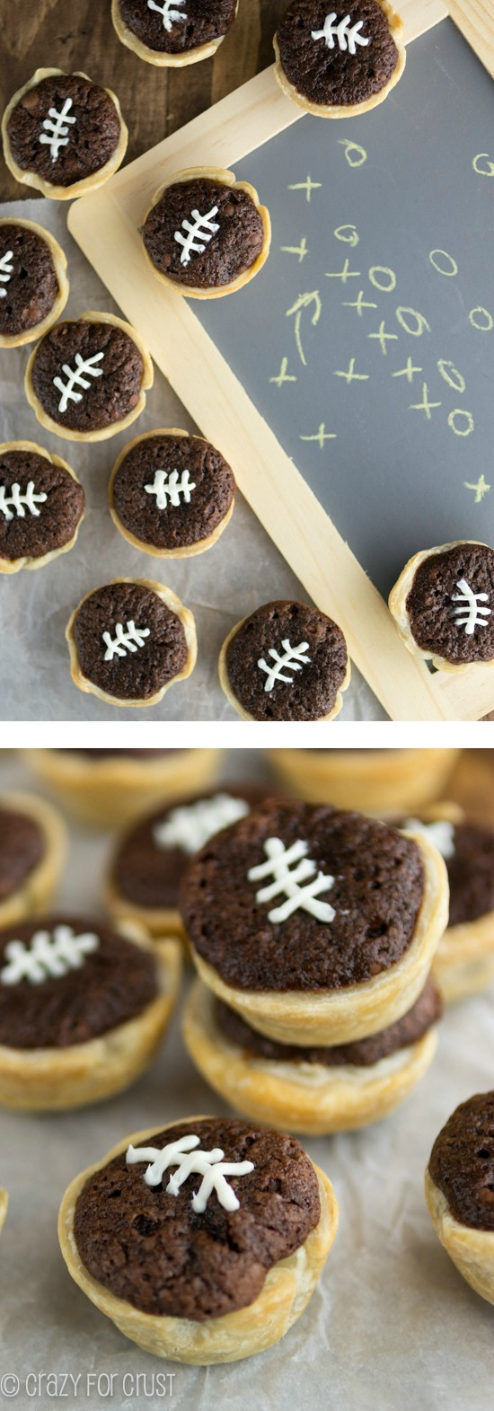 Mini Brownie Football Pies | www.crazyforcrust.com | Perfect for game day!