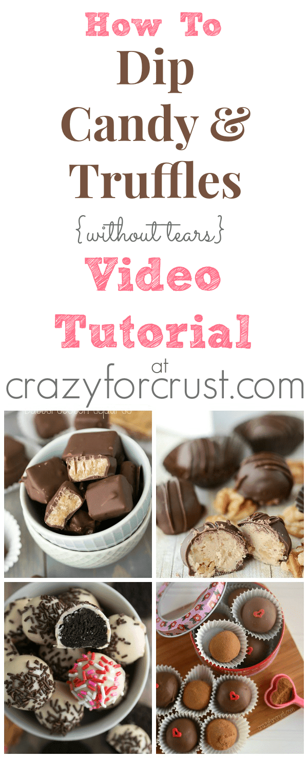 How To Dip Candy and Truffles Video Tutorial at www.crazyforcrust.com | Learn some dipping tricks so you can make candy without tears!