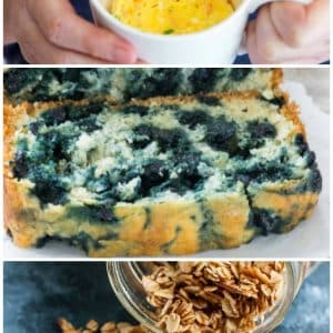 collage showing 4 skinny breakfast ideas