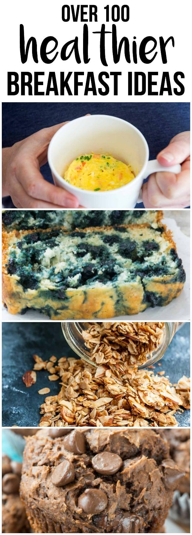 collage showing 4 skinny breakfast ideas