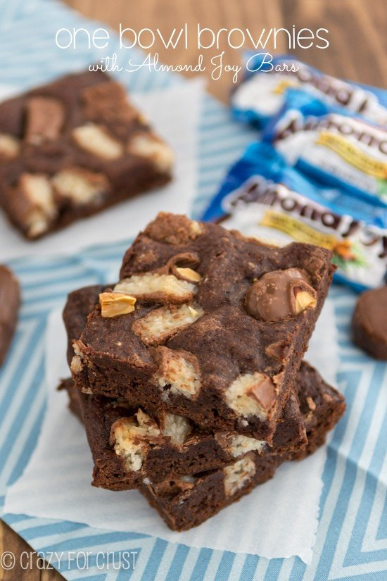 One Bowl Brownies with Almond Joys by crazyforcrust.com