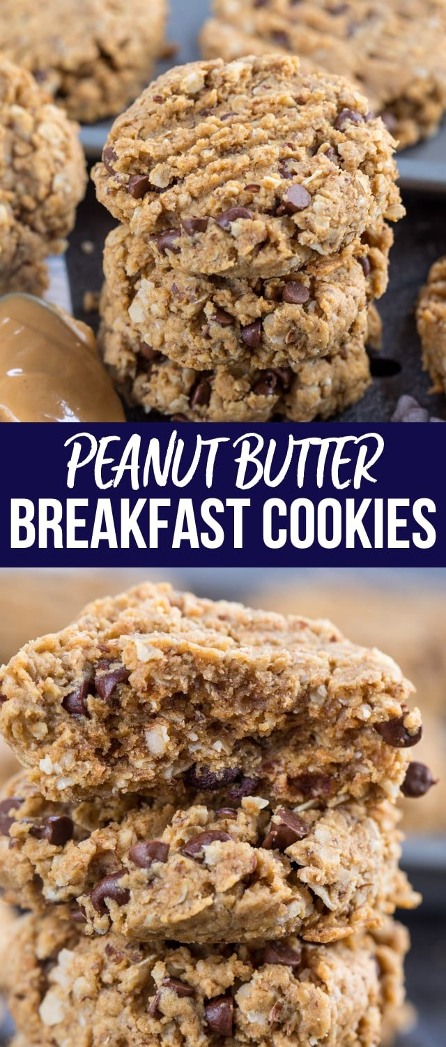 Peanut Butter Breakfast Cookies are a healthier way to eat cookies for breakfast. Made with oats, whole wheat flour, and flax, they have very little fat and are the perfect snack or breakfast recipe.