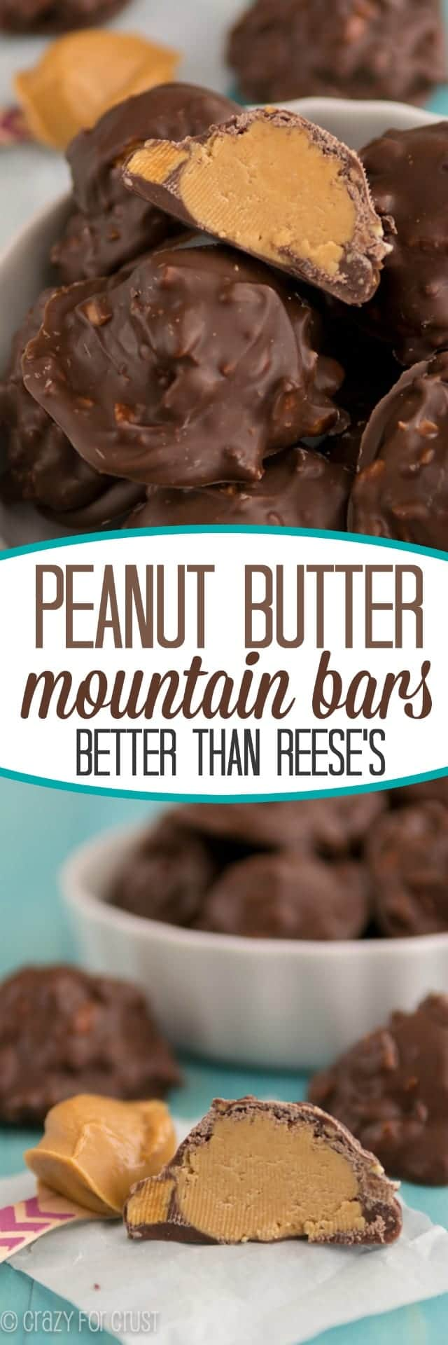 Pic collage of Peanut Butter Mountain Bars  in a white bowl with title