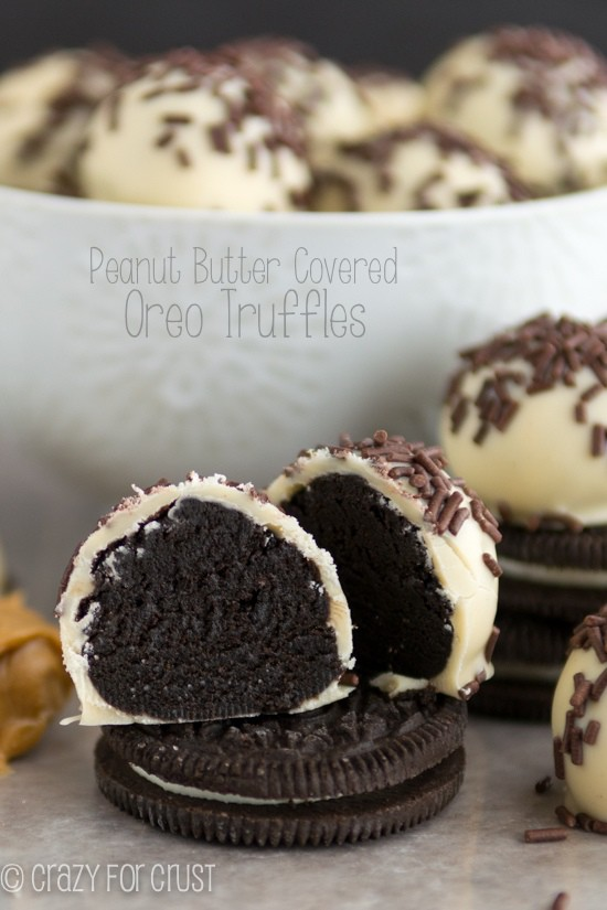 Peanut Butter Oreo Truffles sitting on top of a Oreo