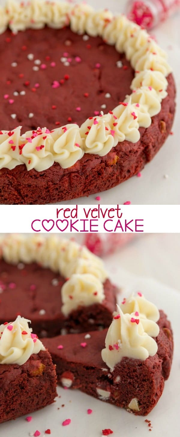 Red Velvet Cookie Cake - the perfect Valentine dessert, made easy with cake mix!