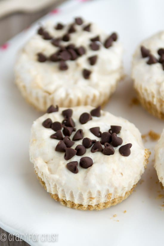 Skinny Frozen Peanut butter pies on a white plate